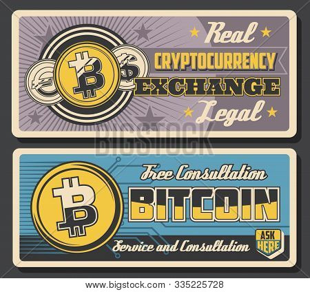 Bitcoin Cryptocurrency Exchange, Crypto Currency Transactions Blockchain Vintage Posters. Vector Dig