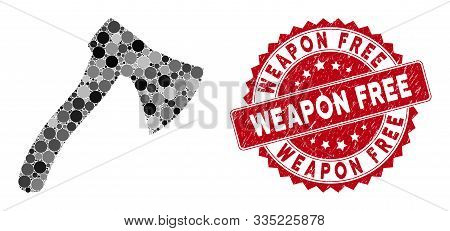 Mosaic Hatchet And Rubber Stamp Watermark With Weapon Free Phrase. Mosaic Vector Is Formed With Hatc