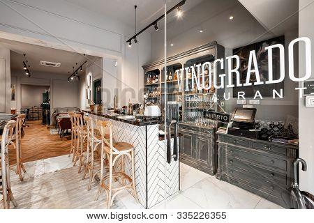 Spain, Barcelona - October 22 2019. Restaurant Vinogrado. Restaurant And Bar Interior. Modern Europe