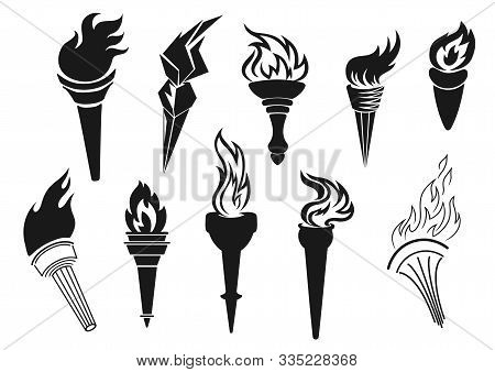 Fire Torch Icons, Sport Game Championship, Football Soccer Tournament Victory And Liberty Symbol. Ve