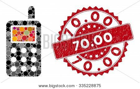 Mosaic Cell Phone And Distressed Stamp Watermark With 70.00 Caption. Mosaic Vector Is Composed With