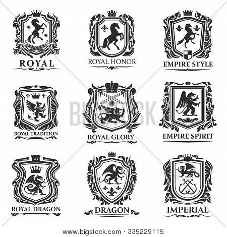 Heraldic Animals, Royal Heraldry Shields With Dragons And Medieval Creatures. Vector Pegasus Horse A