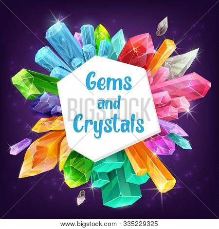 Gems, Crystals And Minerals With Vector Gemstones And Precious Stones Of Diamond, Quartz And Sapphir