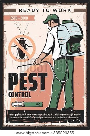 Pest Control Service, Professional Home Disinsection And Domestic Bugs Extermination Vintage Retro P