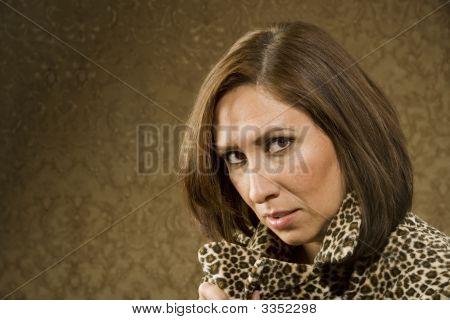 Pretty Hispanic Woman In Leopard Print