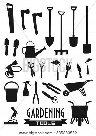 Garden Tools Icons, Shovel Rake And Farm Fork, Gardener Equipment. Vector Gardening Trowel, Scissors