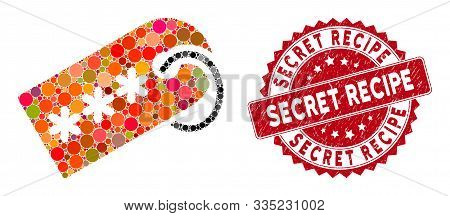 Mosaic Secret Tag And Corroded Stamp Seal With Secret Recipe Text. Mosaic Vector Is Designed With Se
