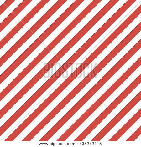 Christmas And New Year Pattern Of Repetitive Slanting Strips Of White And Rad Color. White And Red V