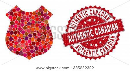 Mosaic Police Shield And Rubber Stamp Watermark With Authentic Canadian Phrase. Mosaic Vector Is Des