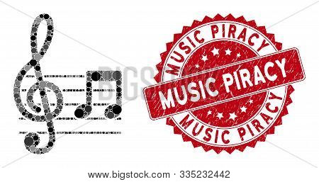 Mosaic Musical Notation And Rubber Stamp Seal With Music Piracy Text. Mosaic Vector Is Composed With