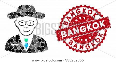Mosaic Scientist And Grunge Stamp Seal With Bangkok Text. Mosaic Vector Is Designed From Scientist I