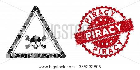 Mosaic Skull Death Triangle And Distressed Stamp Seal With Piracy Text. Mosaic Vector Is Composed Wi