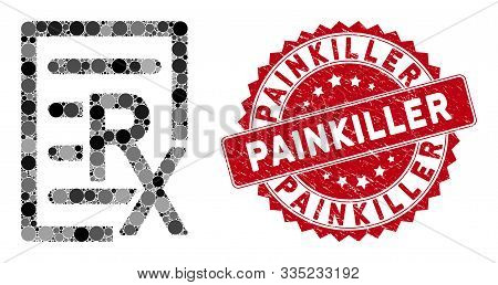 Mosaic Receipt And Grunge Stamp Watermark With Painkiller Caption. Mosaic Vector Is Designed With Re
