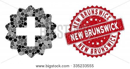 Mosaic Create And Rubber Stamp Watermark With New Brunswick Phrase. Mosaic Vector Is Created With Cr