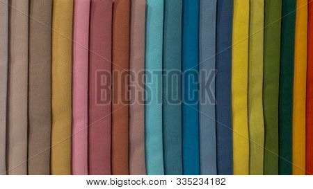 Multi-colored Strips Of Fabric, Samples Of Textile Material. Soft Fleecy Fleece, A Palette Of Color