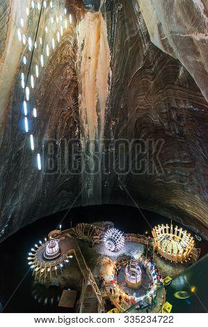 Turda, Romania - Apr 30, 2018: Hall Of Salt Mine Salina Turda Museum. Popular Travel Destination. Un