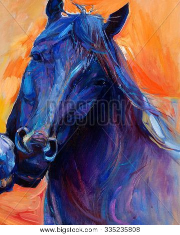 Original Abstract Oil Painting Of A Beautiful Blue Horse.modern Impressionism.painting Is Related To
