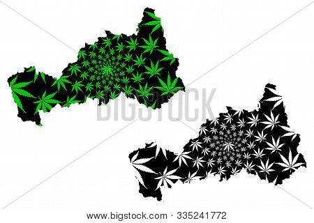 Department Of Pasco (republic Of Peru, Regions Of Peru) Map Is Designed Cannabis Leaf Green And Blac