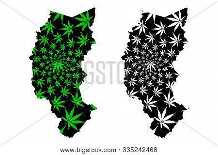 Department Of Puno (republic Of Peru, Regions Of Peru) Map Is Designed Cannabis Leaf Green And Black