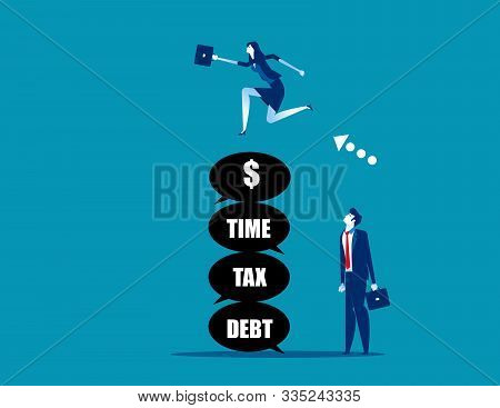 Leader Jumping Over The Problem Itself. Concept Business Vector,  Tax, Debt, Risk.