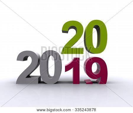 Arrivo Del Nuovo Anno 2020 In 3d Colorato