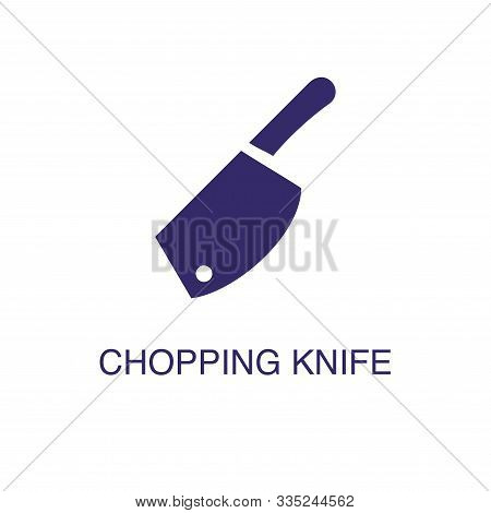 Chopping Knife Element In Flat Simple Style On White Background. Chopping Knife Icon, With Text Name