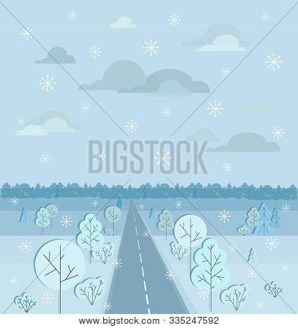 Highway Or Motorway. Winter Landscape. Autobahn. Snowy Skyline, Landscape With Highway, Freeway, Tre