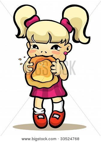 Girl Eating Bun