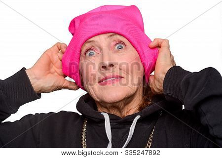 Somethings Blows Grandmas Mind. Old Woman Expresses Her Rapture
