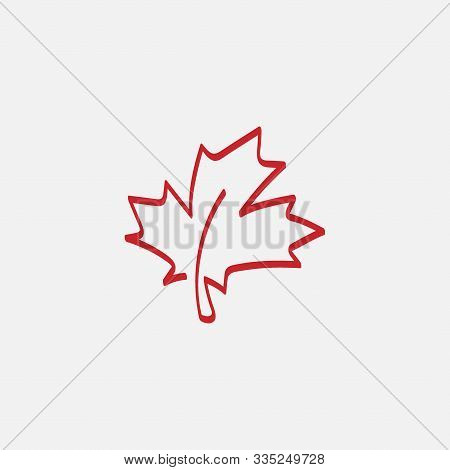 Maple Leaf Logo Template Vector Icon Illustration, Maple Leaf Linear Vector Illustration, Canadian V