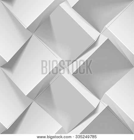 Light Seamless Geometric Pattern. Realistic 3d Cubes From White Paper. Vector Template For Wallpaper