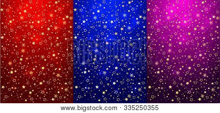 Vertical Christmas Background Set With Flowing Golden Glitter End Christmas Decoration. Place For Te