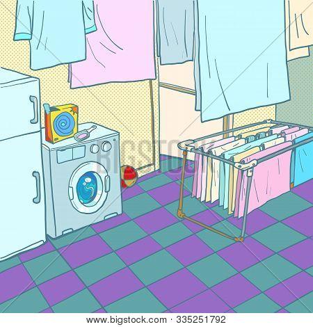 Home Washing And Drying. Washing Machine. Comic Cartoon Pop Art Retro Vector Illustration Drawing