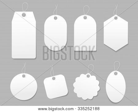 Mockup Tag, Paper Label. Template Blank Tag For Price Shopping, Hang Sale, Gift Card. Luggage Tag Wi