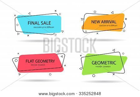 Set Of Trendy Banner With Flat Shape. Design Label With Geometric Shape For Discount Sale. Vivid Bac