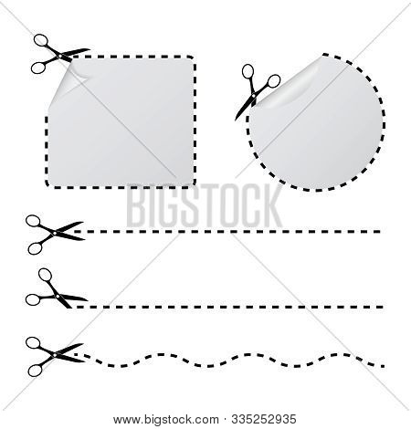 Cut With Scissors In A Dashed Line. Cutout Border With Curl Corner For Paper Sticker, Tag, Banner. C