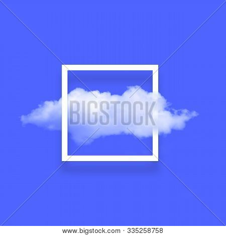 White Cloud In Snapshot Frame Illustration. Rectangular Border With Cotton Candy Isolated On Bright