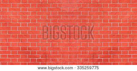 Brick Wall Background. Red Brickwall Pattern, Masonry Texture. Empty Brickwork Wallpaper
