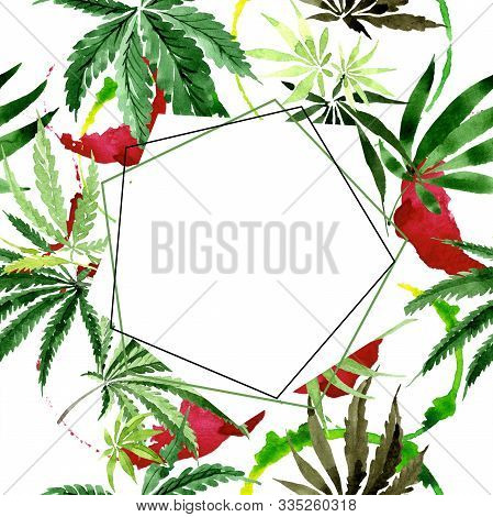 Cannabis Green Leaves. Watercolor Background Illustration Set. Frame Border Ornament Square.