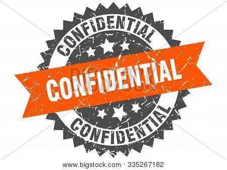 Confidential Grunge Stamp With Orange Band. Confidential