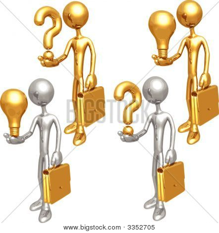 Lightbulb Question Businessmen