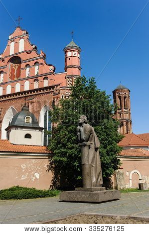 Vilnius, Lithuania - May 20, 2017: Monument To Adam Mickiewicz Against The Background Of The St Anne