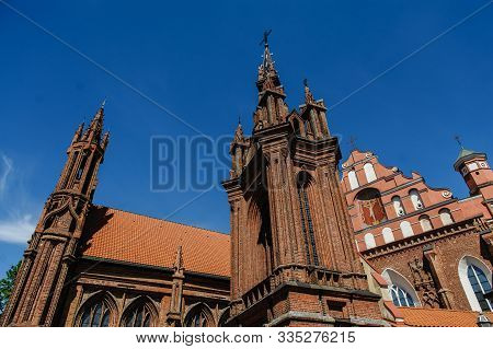Vilnius, Lithuania - May 20, 2017: Architectural Details Of St Annes And Bernadines Churches In Viln