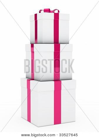 Gift Boxes Pink White Stack