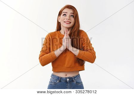 Faithful Cute Urban Redhead Girl Implore God Praying Hold Palms Together Plead Supplicating Look Up