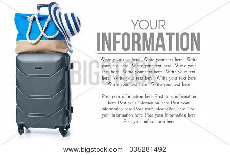 Summer Holidays, Vacation And Travel Concept. Suitcase, Luggage With Beach Bag And Straw Hat On Whit