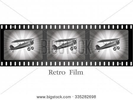 Retro Airplane In Flight.retro Movie Film Illustration.