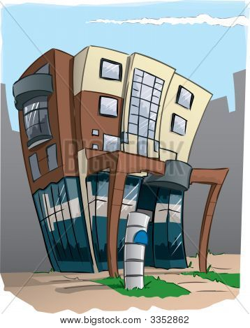 Modern Office Building In Cartoon