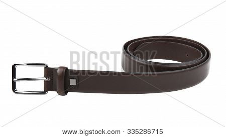 New Dark Brown Leather Belt With A Nickel Buckle. Without Shadows. Isolated On White Background