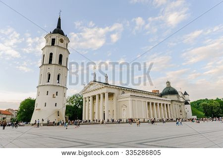 Vilnius, Lithuania -may 20, 2017: The Cathedral Square In Vilnius. Bell Tower And Cathedral Of St. S